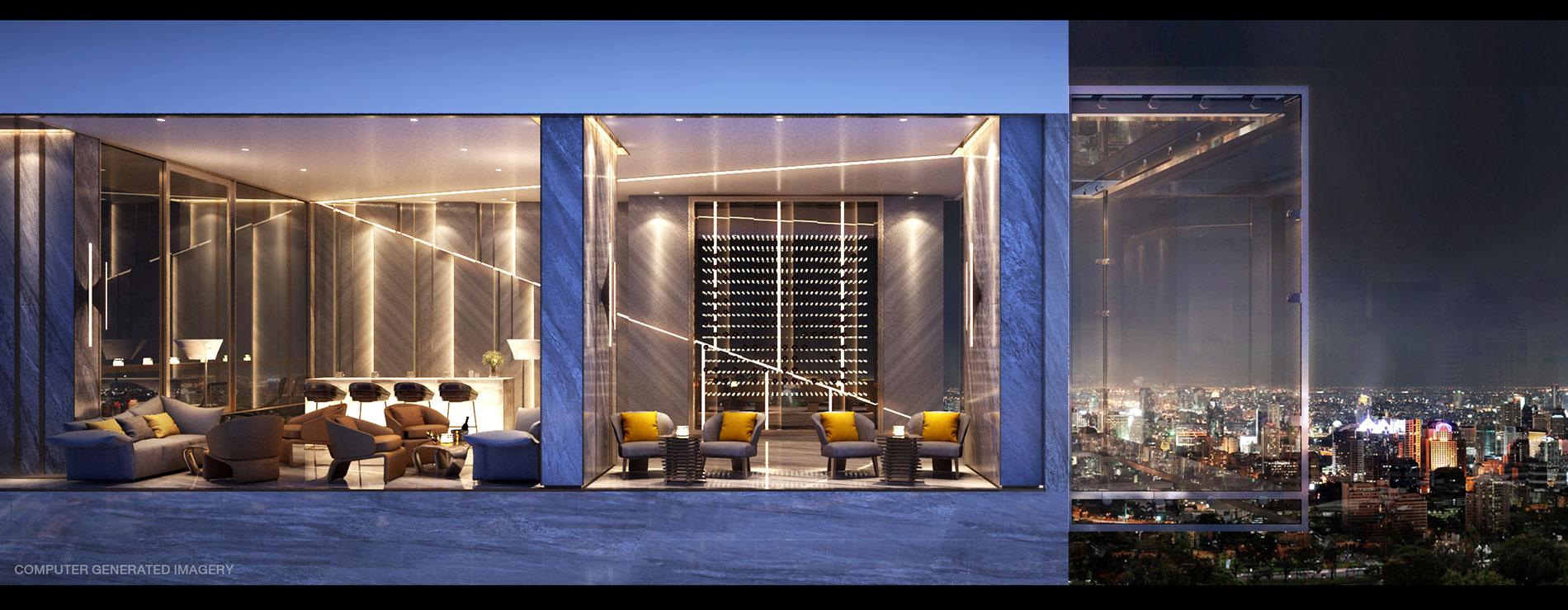 Building A: Sky Lounge ให้คุณผ่อนคลายในบรรยากาศส่วนตัว พร้อมดื่มดื่มด่ำกับทัศนียภาพใจกลางเมือง