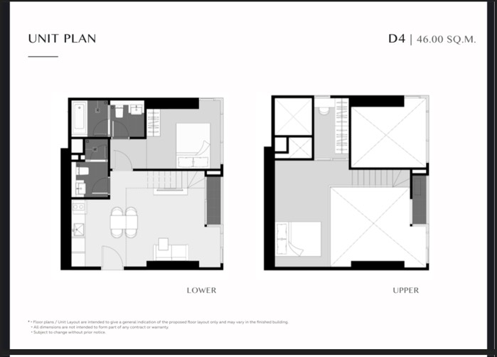 Unit Layout ห้อง Duo Space (45.5ตร.ม.) @ Park Origin Thonglor